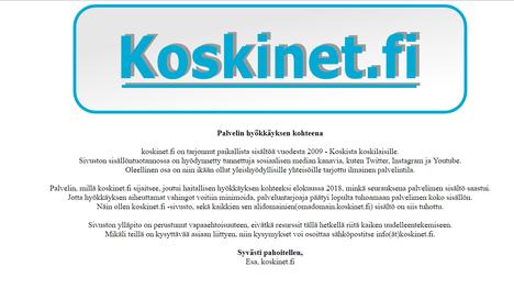 Koskinet.fi:n sivut suljettiin elokuussa.