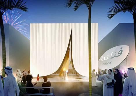 LUMI-paviljongin sisääntulo antaa vaikutelman arabitelttaan saapumisesta.