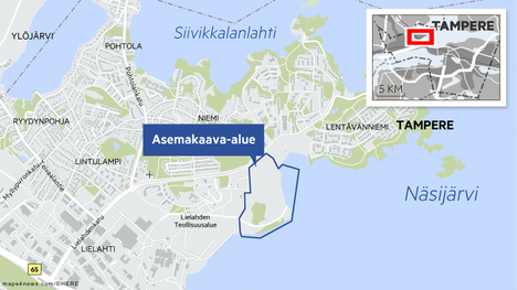 Niemenrata III sijaitsee Lentävänniemen ja tulevan Hiedanrannan kaupunginosan välissä.