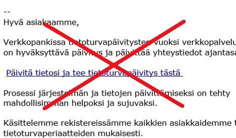 Handelsbankenin nimissä lähetetyn huijausviestien teksti oli tällainen. Älä anna mitään tietoja!