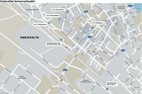 KARTTA AUKEAA SUUREMMAKSI KLIKKAAMALLA. Kartta näyttää, mille alueille Harjavaltaa bensavaras on iskenyt hyvin lyhyen ajan sisällä. Varkauksien sijainnit kartalla ovat viitteellisiä. Päivämäärät ovat samat, jolloin kyseisestä rikoksesta on ilmoitettu poliisille.