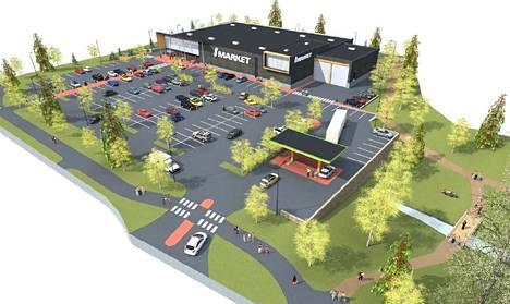 Osuuskauppa Hämeenmaa suunnittelee uutta myymälää Lyylinpuistoon. Ote uuden S-Market Turengin maankäyttöluonnoksesta.