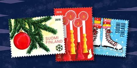 Vuoden 2018 joulupostimerkkejä.