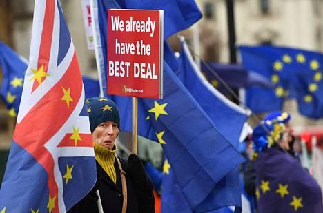 Brexit on jakanut kansaa Britanniassa. EU-myönteisiä mielenosoittajia Lontoossa 18. joulukuuta.