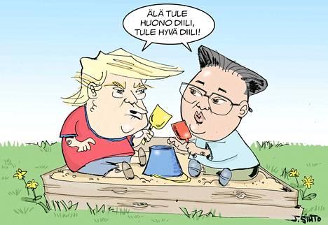 Yhdysvaltain presidentti Donald Trump ja Pohjois-Korean johtaja Kim Jong-un tapasivat kesällä Singaporessa.