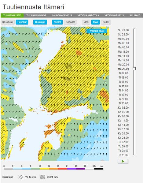 Foreca ennustaa uudenvuodenaattoiltaan kello 23 puuskissa yli 14 metriä sekunnissa puhaltavaa tuulta. Keskituulennopeus arvioidaan 8–11 metriin sekunnissa. Rannikkoseudulla myös keskituulennopeus voi olla kovaa.