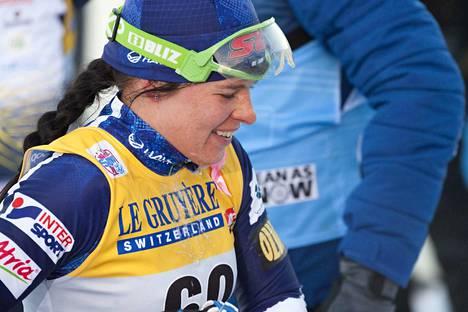 Krista Pärmäkoski jatkaa erävaiheeseen maastohiihdon Tour de Ski -kiertueen sprintin aika-ajosta Sveitsissä. Arkistokuva.