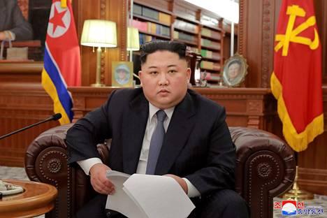 Kim Jong-un puhe pohjoiskorealaisille televisioitiin uudenvuodenpäivänä.