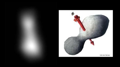 Kuvassa vasemmalla näkyy Nasan julkaisema kuva Kuiperin vyöhykkeellä vaeltavasta Ultima Thulesta. Oikealla sen perusteella piirretty kuva kappaleen muodosta.