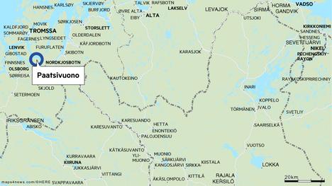 Paatsivuono sijaitsee lähellä Suomen rajaa.