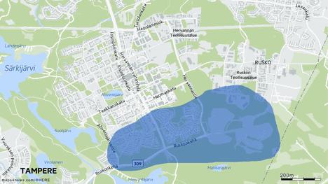 Pahaa hajua on aiemmin havaittu ainakin Etelä-Hervannan ja Ruskon alueella. Grafiikka huhtikuulta 2018.