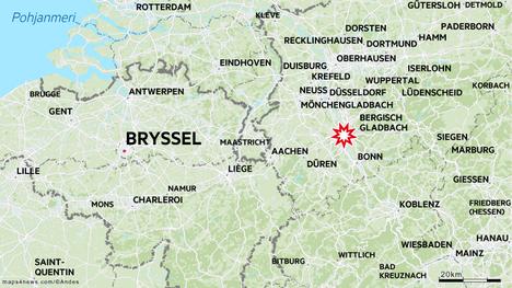 Välikohtaus sattui Kölnin keskustassa Saksassa.