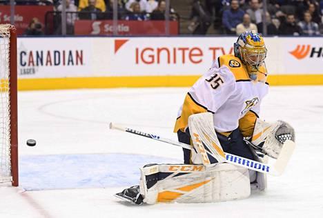 Pekka Rinne torjui maanantaina Torontossa kauden kolmannen nollapelinsä.