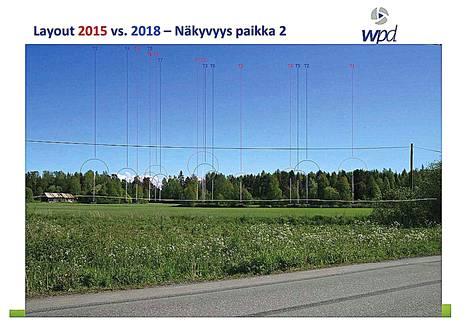 Wpd Finland Oy:llä on valmiina alustavat havainnekuvat, joihin on soviteltu uuden suunnitelman mukaiset tuuliturbiinit.