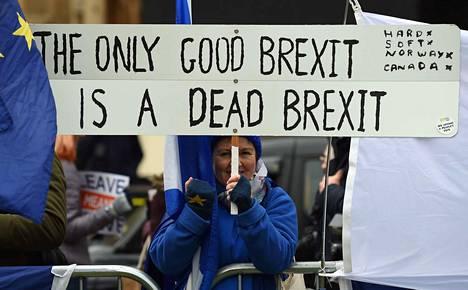 """""""Vain kuollut brexit on hyvä brexit"""", julisti EU-myönteisten protestoijien kyltti Lontoossa tiistaina, jolloin alahuone kokoontui äänestämään brexit-sopimuksesta."""