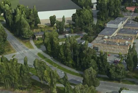 Suunnitellun palloiluhallin kaava-alueen lähellä sijaitsevat terveyskeskus ja Tays Valkeakosken sairaala. Havainnekuva.