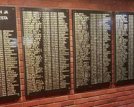 Kankaanpään veteraanijärjestöjen vuonna 1992 hankkimassa Pro patria -kunniatauluissa on yhteensä 170 sankarivainajan nimet.