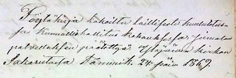 Ylöjärven kunnan perustamiskirja allekirjoitettiin seurakunnan sakaristossa 24.1.1869.