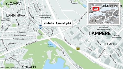 Ryöstäjä iski K-market Lamminpäähän maanantaina illalla.