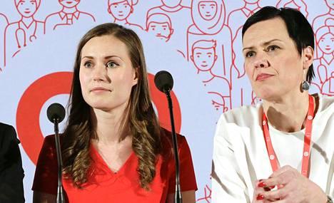 Sanna Marin ja Maarit Feldt-Ranta SDP:n puoluekokouksessa Lahdessa helmikuussa 2017.