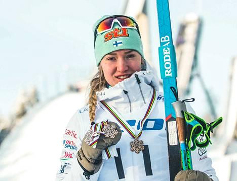 Anita Korva on voittanut Lahdessa kolme MM-pronssia: sprintissä (p) sekä 5 km (v) ja 15 km (p) kilpailuissa.