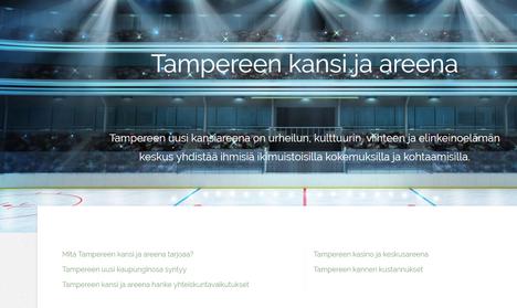 Kansiareena.fi-sivustoa voisi ensinäkemältä luulla viralliseksi sivustoksi hankkeesta.