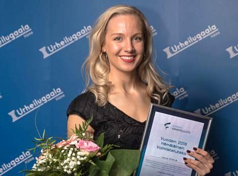 Laura Vihervä sai Vuoden voimisteluteko -palkinnon Hämeen urheilugaalassa perjantai-iltana.
