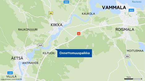 Onnettomuuspaikka on Äetsästä 3,4 kilometriä Kilpijoen suuntaan.