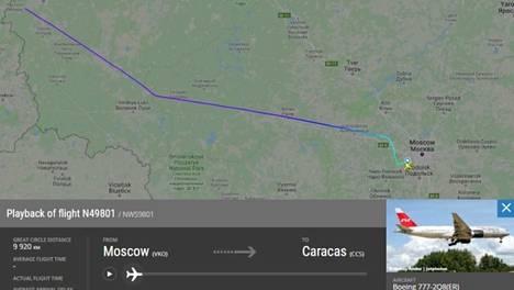 Kone lähti maanantaina Vnukovon kentältä Moskovasta ja lensi ilman välilaskuja Venezuelaan.