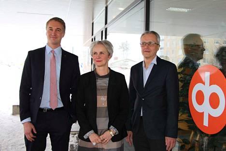 OP Sastamalan, OP Kiikoisten ja OP Mouhijärven toimitusjohtaja Janne Pohjolainen, Pia Segerman ja Rainer Sillanpää kertoivat viime vuoden tuloksesta torstaina.