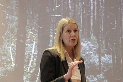 Saabin elektronisen sodankäynnin asiantuntija Inga Bergström näyttää hävittäjäsodankäynnin tavoitetta vertauskuvin. Pieni voittaa ison fiksuudella.