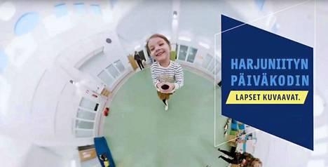 Nokian Harjuniityn päiväkodin lapset kuvasivat itse videon, jolla houkutellaan uusia varhaiskasvatuksen työntekijöitä. Kuvakaappaus videolta.