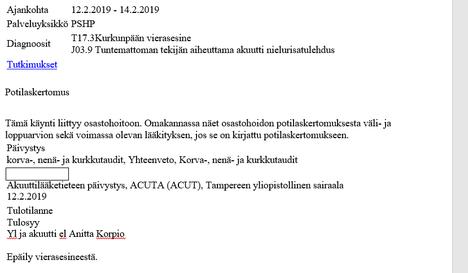 Kuvakaappaus tamperelaisnaisen sairaalakäynnin tiedoista Omakanta-palvelusta, jonne henkilökohtaiset terveystiedot tallennetaan.