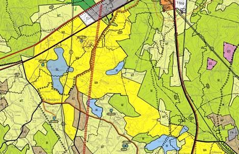 Keltaisella merkitty alue on maisemallisesti arvokasta peltoaluetta. Sitä halkova punainen linja on ratayhteystarve, eli niin sanottu oikorata Jämsästä Lahteen.