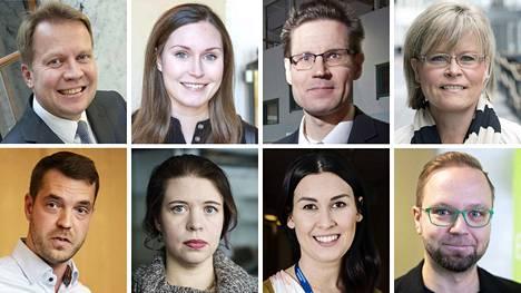Aamulehden vaalitentin panelisteja ovat ylärivistä vasemmalta katsottuna Harri Jaskari, Sanna Marin, Sami Savio ja Sari Tanus sekä alarivistä vasemmalta Jouni Ovaska, Anna Kontula, Tiina Elovaara ja Olli-Poika Parviainen.