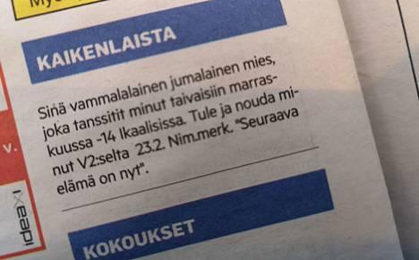 Tämä ilmoitus julkaistiin Tyrvään Sanomien painetussa lehdessä torstaina 21. helmikuuta ja on herättänyt sen jälkeen keskustelua ja arvuuttelua jumalaisen miehen henkilöllisyydestä.
