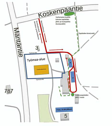 Pohjoislahden koulun liikennejärjestelyt muuttuvat työmaan ajaksi.