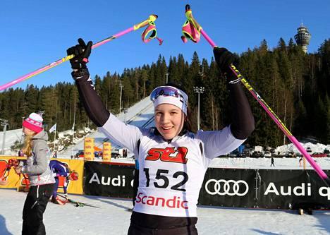 Sonja Leinamon takaa-ajon mestarituuletus olivat tällainen sunnuntain kisan jälkeen.