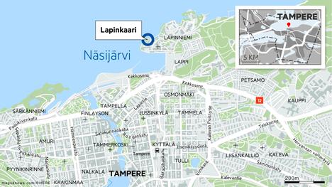 Jäälle Lapinkaaressa jäänyt kelkka aiheutti hälytyksen Tampereella maanantaina.