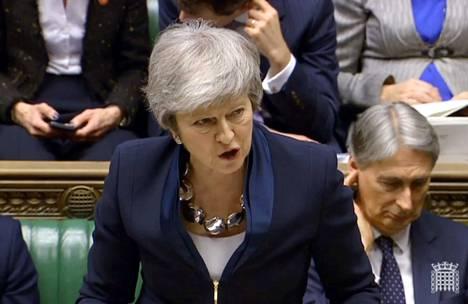 Britannian pääministeri Theresa May puhui parlamentin alahuoneessa tiistaina.