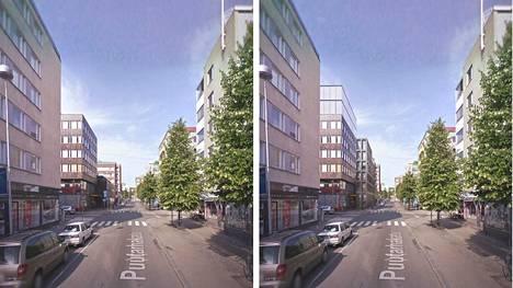 Vasemmalla näkymä paikalta nyt, oikealla muutosten jälkeen. Kuva näyttää alueen Puutarhakadun suunnasta.