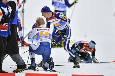 Ruotsin Jens Burman, Heikkinen ja Ranskan Clement Parisse olivat täysin puhki kolmannen osuuden jälkeen.