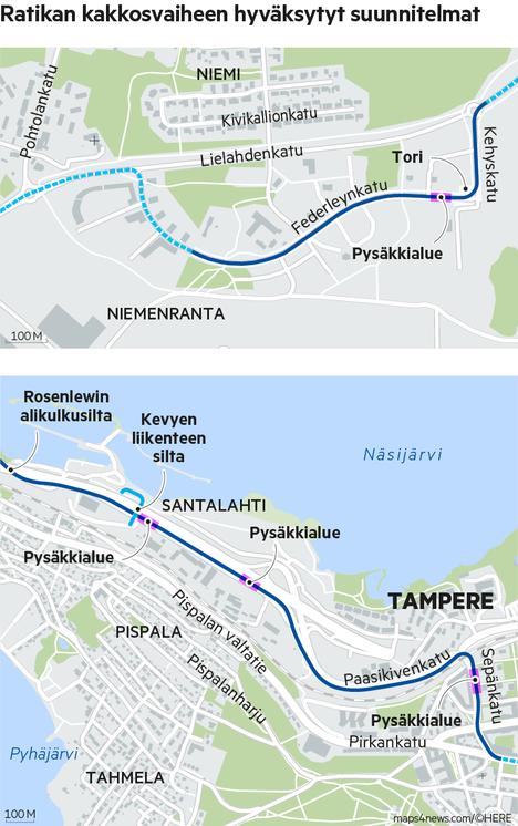 Ratikan reitti Sepänkadulta Paasikiventielle ja suunniteltu linjaus Niemenrannassa.