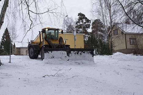 Valkeakoskella oli alkuvuodesta runsaasti lunta.