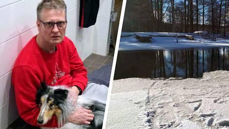 Jari Linjala pelasti collien hyisestä vedestä varhain sunnuntaiaamuna.