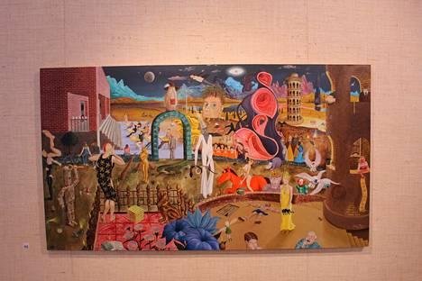 REM-vaihe on yksi sastamalalaistaiteilija Mikko Ylisen psykedeelisimmistä maalauksista. Kulttuuritalo Jaatsin seiniltä löytyy maaliskuussa kaikkiaan 74 enemmän tai vähemmän tajunnanräjäyttävää Ylisen teosta.