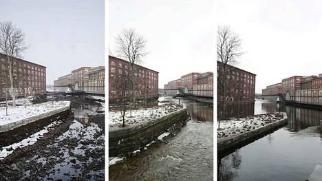 Näin koski täyttyi. Ensimmäisessä kuvassa koski tyhjänä alkuviikosta. Toisessa kuvassa koskea on täytetty 2,5 tuntia. Kolmannessa kuvassa koski jälleen täynnä kuvattuna lauantai-iltapäivänä 16.3.