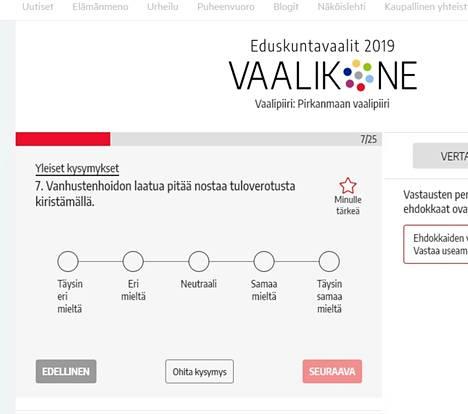 Nokian Uutisten ja Alma Median yhteisessä vaalikoneessa on yhteensä 25 kysymystä, joihin ehdokkaat ovat saaneet vastata. Mukana on yleisten ja arvomaailmaa selvittävien kysymysten lisäksi myös paikallisia kysymyksiä. Vaalikone löytyy Nokian Uutisten verkkosivujen etusivun yläpalkista.