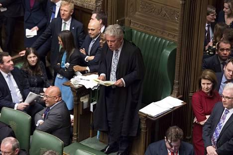 Parlamentin puheenjohtaja John Bercow kertoi päätöksestään maanantaina alahuoneelle.