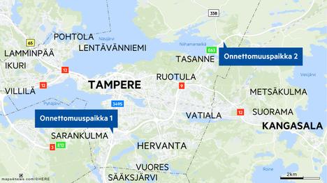 Ensimmäinen kolari sattui Helsingin moottoritielle vievässä Lakalaivan liittymässä. Toinen 9-tiellä Aitovuoren liittymässä kohti Jyväskylää.